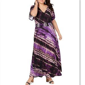 NWT INC Macy's Tie Dye Flutter Maxi Dress Plus 0X